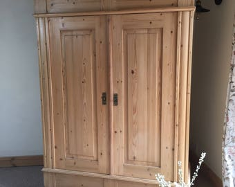Antique solid pine armoire