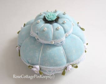 Pincushion, Two Tier PinKeep, Sewing Room Accessory, Blue Turquoise Pincushion, Cottage Chic Pillow with Gift Box