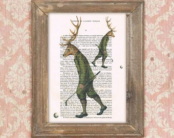 Golfplayer deer, sport deer, golf deer,  deer painting, deer illustration, antlers, stags, hunter print, human deer