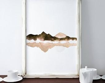 Abstract Landscape, Mountain Lake Print, Lake Reflection Art, Gold Brown Print, Framed Modern Art, Contemporary Artwork, Minimalistic Decor