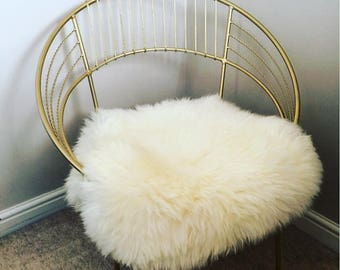 Hand Painted Gold Copper or Silver Metal Round Wire Aluminium Eames Harry Betoia Inspired Chair with Sheepskin Throw Seatpad