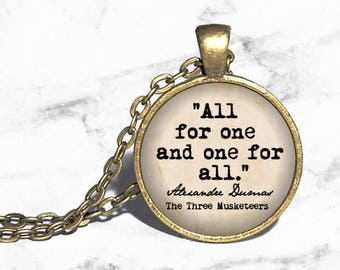 The Three Musketeers, 'All for one, and one for all,' Alexandre Dumas Necklace, French Literature, D'Artagnan, Athos, Aramis, Porthos