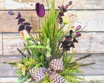 Purple Tulip Burlap Chevron Silk Floral Arrangement, Floral Centerpiece, Country Decor, Handmade, Farmhouse Floral, Country Cottage Decor