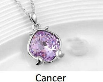 zodiac alloy crystal necklace - Cancer