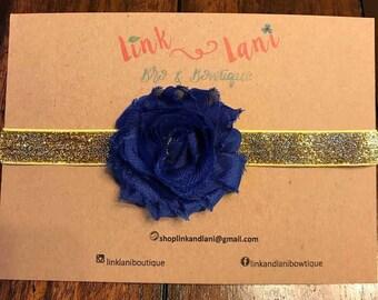 sabby chic, flower headband, shimmer, gold, elastic headband, navy blue flower
