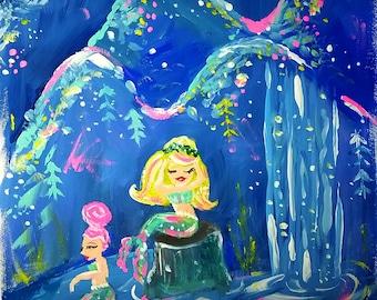 Mermaid Lagoon - Mermaid Art Print - Mermaid Wall Art - Mermaid Painting - Mermaid Art - Gift for Her - Mermaid Illustration