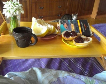 Coffee in bed, breakfast tray,  wooden table for beakfast, Bed tray, Breakfast in bed, Gifts for Women, for all occasions table