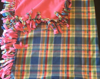 Plaid Fleece No-sew Blanket, Fleece Throw *Sale*