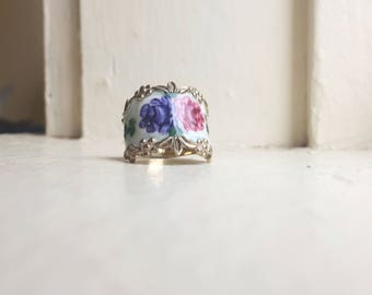 Vintage Floral Ring - Size 6 - Spoon Style Ring - Floral Vintage Ring - Sterling Silver Ring - Vintage Floral Jewelry - Porcelain Floral