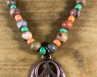 Wood Bead Peace Necklace and Earrings