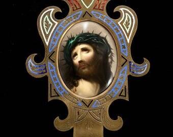 RARE Antique Bronze Holy Water Font with Hand Painted Porcelain Plaque of Ecce Homo Jesus Christ Enamel 1