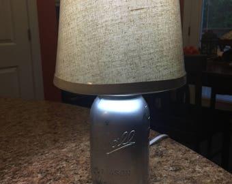 Vintage Mason Jar Lamp w/ Mirrored Antiqued Finish