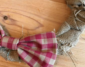 Hessian Wreath with Red Gingham Bow detail (30cm)