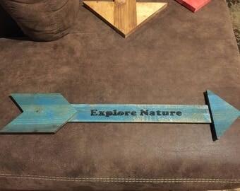 Explore Nature - Wood Arrow Sign