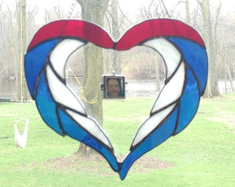 Patriotic Heart Sun catcher