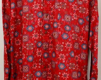 """80's Vintage """"CHAPS RALPH LAUREN"""" Long-Sleeve Pattern Shirt Sz: Large"""
