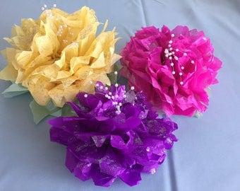 tissue pom pom centerpiece, shimmering flower, baby shower centerpiece, bridal shower centerpiece, baptism centerpiece, paper flowers