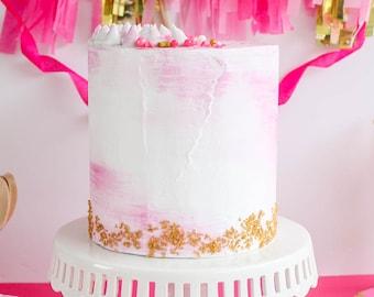 Partial Watercolor Cake- Fake cake, prop cake, party decor