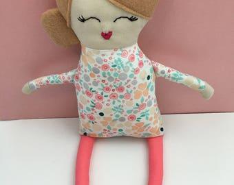 Customizable Cloth Doll Handmade Rag Doll Coral Nursery Decor Baby Shower Gift Heirloom Doll Modern Handmade Doll Fabric Dolls Soft Doll