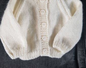 0-3 month double knitting cardigan