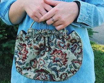 Vintage Beaded Tapestry Shoulder Bag