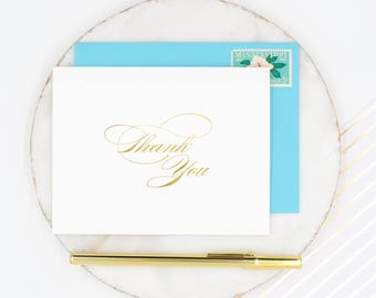 Thank You Cards, Gold Foil Stationery, Wedding Thank You Cards, Gold Thank You Notecards, Gold Foil Thank You, Gold Wedding Cards, Gold Foil