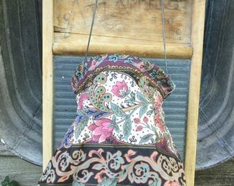 ReVamped Clothespin Bag Salvaged Open Mouth Clothes Pin Bag Frame 1960s Handmade Chintz UpCycled Clothes Pin Bag
