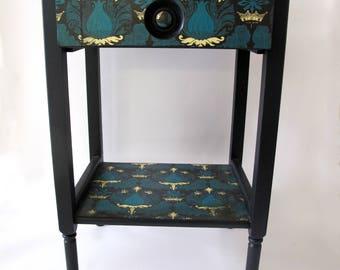 Retro Side Table - Teal and black vintage decoupage design