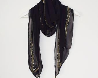 Black Georgette Embellished Scarf