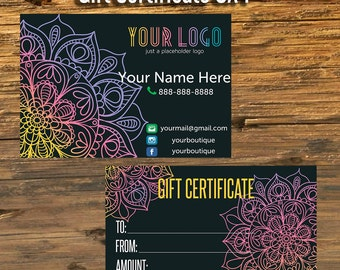 Gift Certificate, Free Customization, Gift Cards, Home Office Approved Fonts And Colors, Business card, Mandala