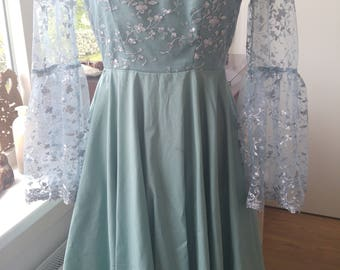 Lovely lace silver/grey blue dress
