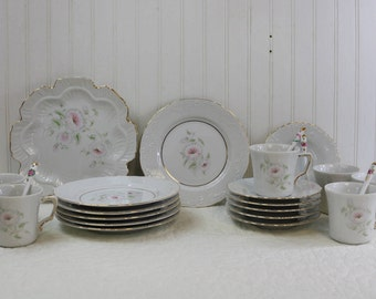 Winrose collection handpainted in USA. Vintage 22 piece high tea set.