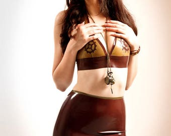 LaTeX steampunk high waisted mini skirt - colour choice