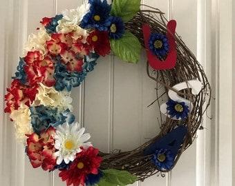 Patriotic Wreath Red White Blue Handmade