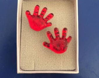 Handprint earrings
