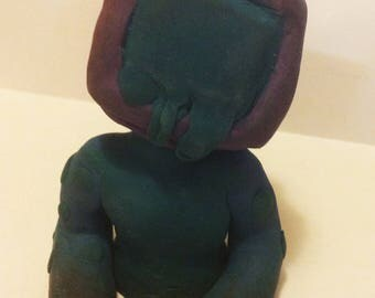 Object-head Sculpey Clay Figurine