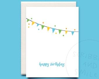 Happy Birthday - greeting card - happy birthday - happy birthday bunting