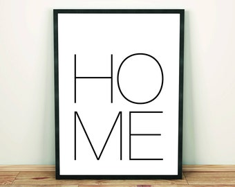 Home, Typography, Minimal Art Print