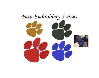 Paw Embroidery Design - 5 design sizes Tiger print machine embroidery INSTANT DOWNLOAD