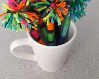 Handmade pom pom pens