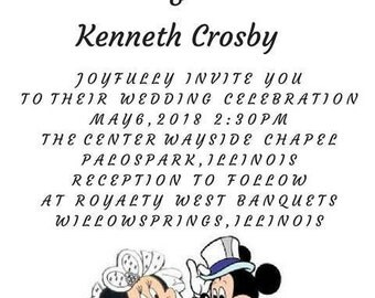 Mickey and Minnie Wedding Invitations and RSVP