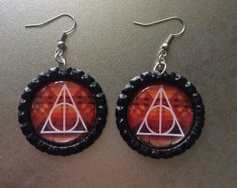 Harry Potter Deathly Hallows Bottle Cap Earrings