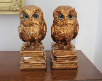 Vintage Gold Owl Bookends