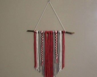 Watermelon Pink Braided Wall Hanging