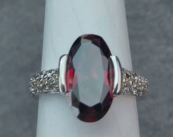 925 Sterling Silver, Ruby, multiple clear gem Ring
