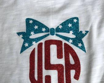 4th of July USA Bow Glitter T-Shirt