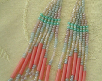 Hand Beaded Pierced Earrings, French Hook, Pink, Turquoise, Blue, Lavender