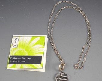 """Fine Silver Precious Metal Clay Vintage Button Collection Pendant KHN1549 on 16"""" Cable Link Chain"""