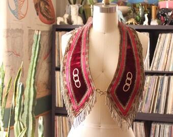 antique Odd Fellows collar sash . red velvet and fringe . Ward & Stilson