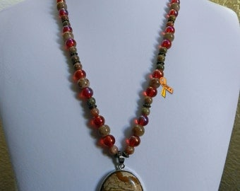 """26"""" Womens Autumn Jasper and Agate Pendant, Beaded Necklace"""